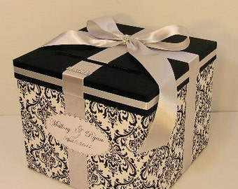 Wedding  Card Box Damask and Silver Gift Card Box Sweet 16 Card Box Money Card Box Holder-Customize your color