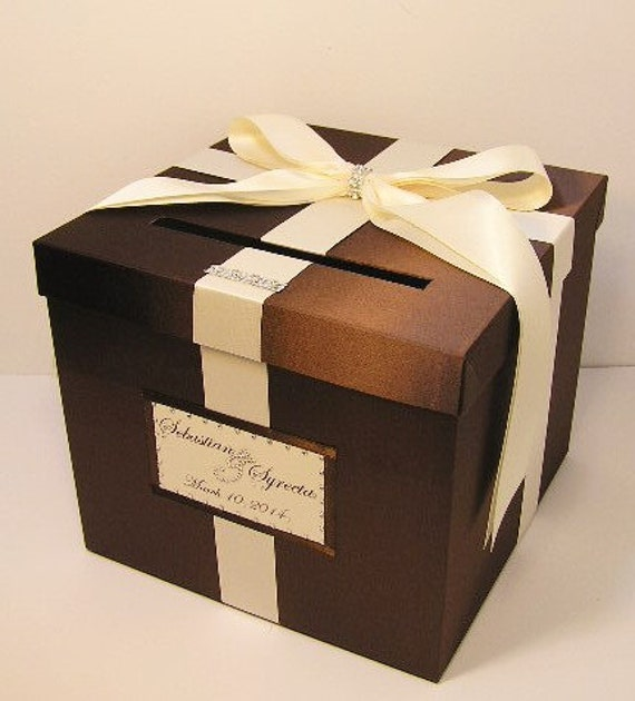 Wedding  Card Box Chocolate Brown and Ivory Gift Card Box Money Box Holder -Customize/made to order (10x10x9)