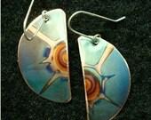 Ocean blue copper jewelry, oxidized copper earrings