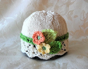 Baby Hat Knitting Knit Baby Hat Hand Knitted Baby Hat  Cotton Knitted Hat Knit Baby Hat with crocheted flowers One of a Kind Baby Hat