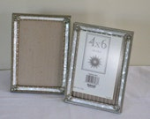 Pair of Vintage MOP Picture Frames, Gold Filigree with Fancy Ornate Corners, Faux Mother of Pearl, Easel Back Photograph Holder Display