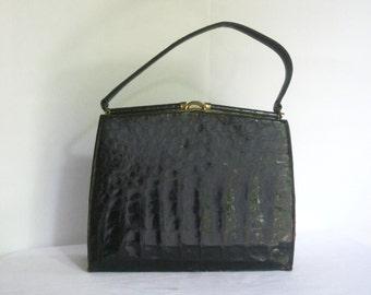 Vintage Mid Century Alligator Purse, Designer Labeled Bellestone Handbag, 1950 1960s Genuine Lizard Reptile, Sleek Classic Gator Pocketbook