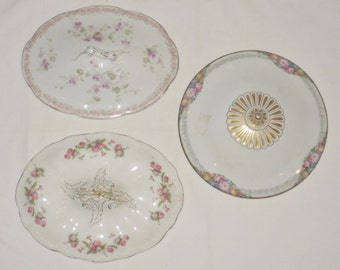 Assorted Replacement Vintage Porcelain Fine China Lids for Wall Decorating Three Flowers Tureen Decorative Lids