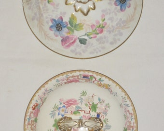 Pair of Vintage Ceramic Replacement Lids for Shabby Wall Decor, Decorative Casserole Lid One AS IS