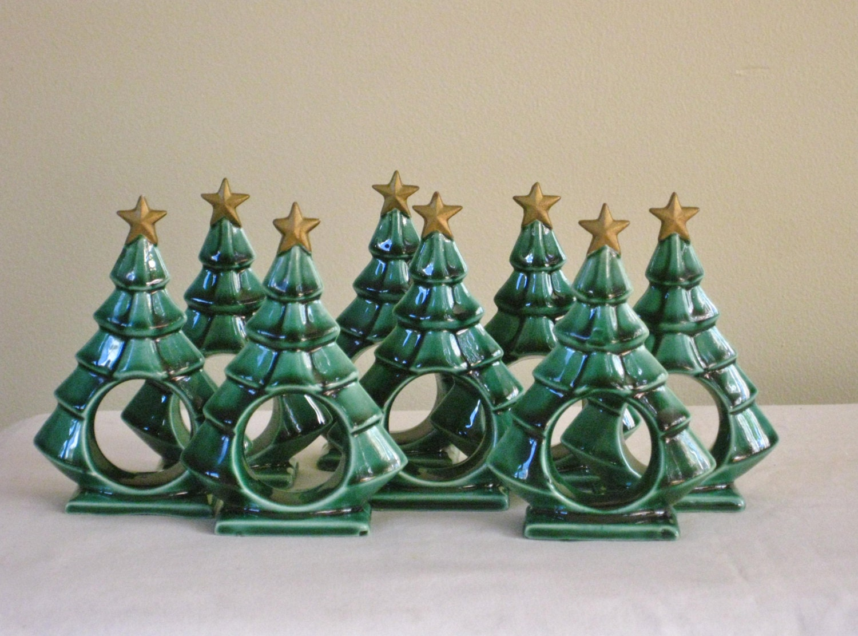 Eight Vintage Ceramic Christmas Tree Napkin Rings Green