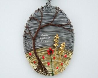Wire tree pendant, stormy day pendant, harvest pendant, cornfield pendant, poppies, wheat, ooak pendant, wire art pendant, wire wrapped