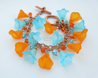 Tropicana bracelet, tropical charm bracelet, tropical flowers, flower bracelet, orange and blue, orange and turquoise, charm bracelet,