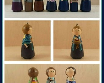 Babywearing figures, babywearing ornaments, customized babywearing pieces, custom babywearing art, customized new mom gift, mother's day