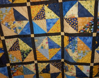 Queen size Bed Quilt blue and Yellow  36