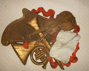 Music Wall Hanging from Homco Violin Harp French Horn