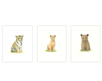 BABY ANIMAL Prints  Nursery Art  3 print set   ZOO Animal Prints   Animal Prints tiger, Lion, Bear,  Baby boy nursery baby girl nursery