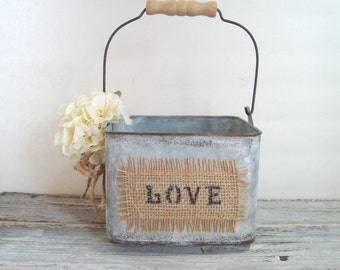 Flower girl pail . rustic wedding . burlap with love - ivory flower pail