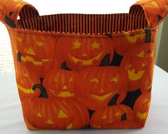 Halloween Fabric Organizer Basket Storage Bin Container Fabric  - Smiling Faces Pumpkis