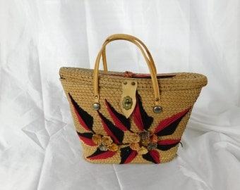 Vintage 1960s 60s Raffia Floral Tote - Handbag - Basket Purse - Straw Bag
