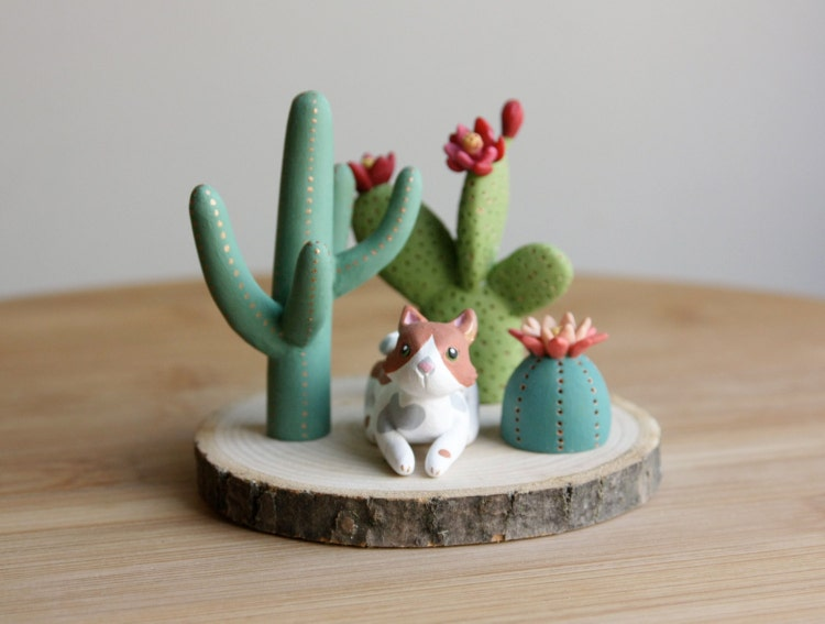 Clay Cactus Figurine One Miniature Clay Figure By Honeythistle
