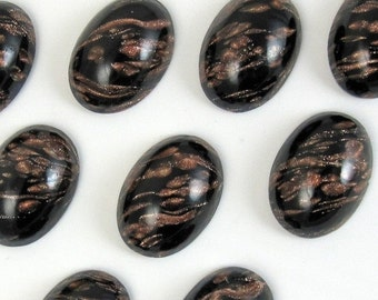 Vintage Glass Cabochons 24 pcs 18x13 Copper Black Stones S-302 BULK 18