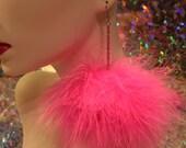 Bright Hot Pink Fluffy Pom Pom Earrings