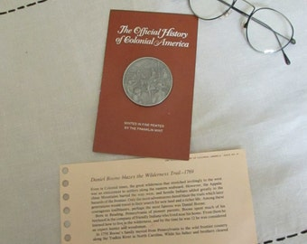 Daniel Boone Blazes the Wilderness Trail Medal - Official History of Colonial America Pewter Medal Series by The Franklin Mint