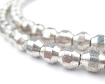 100 Faceted Silver Bicone Beads - Boho Silver Beads - Ethnic Silver Beads - Small Metal Spacers - Metal Bicone Beads (MET-FCT-WHT-339)