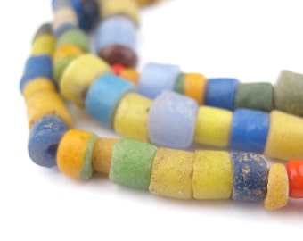 160 African Sandcast Beads - African Glass Beads - Sand-Cast - Powder Glass - Jewelry Making Supplies - Made in Ghana ** (SAND-CYL-MIX-06)