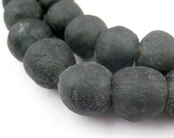 40 Black Recycled Glass Beads from Ghana 14mm (RCY-RND-BLK-559)