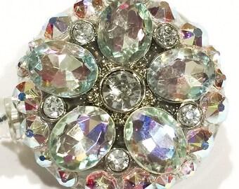 Swarovski Iridescent Crystal AB Flower Swarovski Crystal Embellished Retractable ID Name Tag Badge Reel