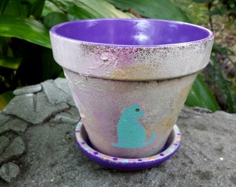 Painted Flower Pot - Rustic Flower Pot - Planter with Cat - Cat Lover Gifts