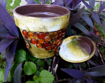 Painted Flower Pot - Large Planter - Distressed Planter - Brown and Gold - Vintage Look