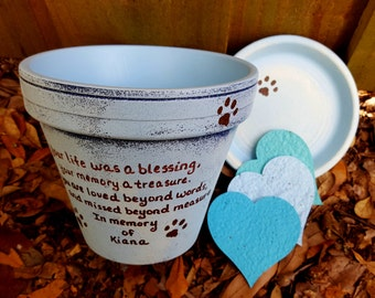 Pet Memorial Gifts - Painted Flower Pots - Dog Memorial - Cat Memorial - Pet Sympathy Gifts - Pet Memorial Planter - Seed Cards
