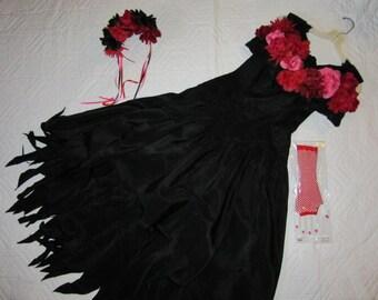 Day of the Dead Costume  black dress  women's size 8 unique Halloween Dia de los Muertos  sugar skull dead Senorita gothic Mexican dancer