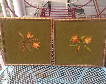 "Pair of floral embroideries. Approx. 10 1/2"" x 10 1/2""."