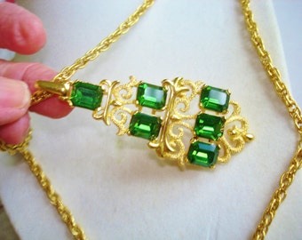Crown Trifari Green Rhinestone Gold Tone Pendant