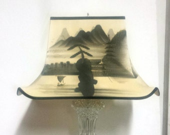 Vintage Silk Lampshade, Asian Hand Painted Lampshade