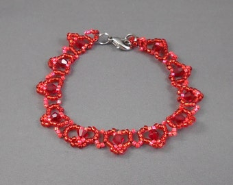 Red Is for Valentine Heart Bead Woven Bracelet