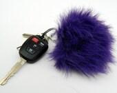 Purple Faux Fur Fashion Pom Pom Keychain Purse/Bag Charm Fairy Kei Decora