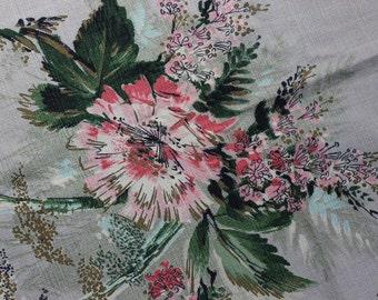 "Barkcloth Metallic Pink Flowers 23"" x 70"" Mid Century Modern Fabric VINTAGE by Plantdreaming"