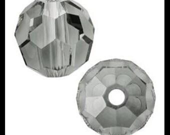 Swarovski Crystal Beads, Round, 5000, 6mm, Black Diamond, Gray, 14 Pieces, Circle, Sphere, Austria