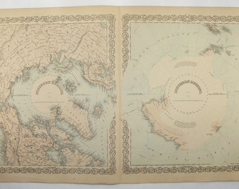 1881 Colton Polar Regions Map, North Pole Map, South Pole Map, Arctic Ocean Antarctica Antique Map, Vintage Man Cave Art Gift for Guy