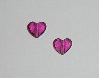 8mm Swarovski crystal HEART faceted love Beads Style 5741 Fuchsia dark pink - 2 hearts