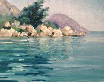"""Ithaca, Greece. 11"""" x 14"""" (28 x 36 cm) original oil on canvas board by Yvonne Wagner.  Greece. Island. Zen. Greek painting.  Unframed."""