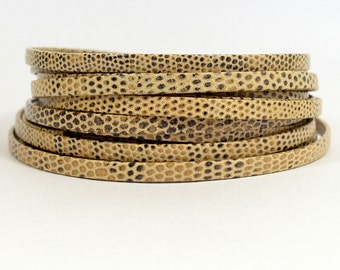 5mm Lizard Texture Leather - Beige - Choose Your Length