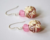 Pink Earrings, Lampwork Earrings, Floral Earrings,  White Rose Earrings, Wedgewood Earrings, Ivory Flower Earrings, Glass Bead Earrings