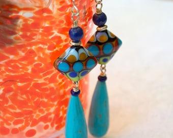 Colorful Abstract Earrings, Diamond Shaped Earrings, Blue Magnesite Teardrop, Artisan Lampwork Earrings, Long Stone Bead Earrings