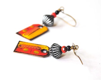 Modern Enamel Earrings, Orange Earrings, Abstract Earrings, Urban Chic Earrings, Colorful Earrings, Funky Earrings, Beaded Earrings