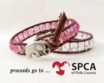 Bubblegum Pink Leather Wrap Bracelet with Baby Elephant Button, Boho Shabby Chic, Handmade Leather Wrap Bracelet, Leather Jewelry