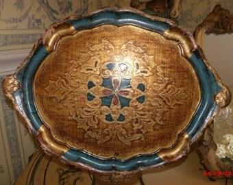 Vintage Aqua Italian Florentine Tray Hollywood REgency Vanity Tray