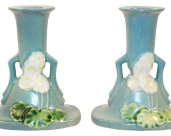 Roseville Pottery Primrose Blue Candle Holders 1105-4