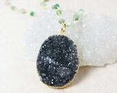 50 OFF SALE Oval Black Druzy Statement Necklace – Gemstone Chain – Choose Your Gemstone