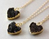 50 OFF SALE Black Druzy Heart Necklace - Heart Pendants - 14K Gf