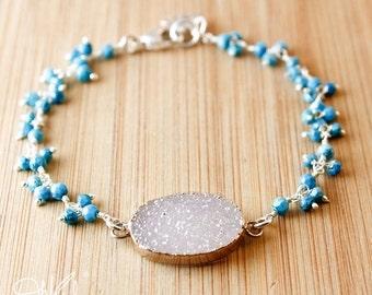 ON SALE Silver Grey Druzy Bracelet - Turquoise Cluster - Lotus Charm